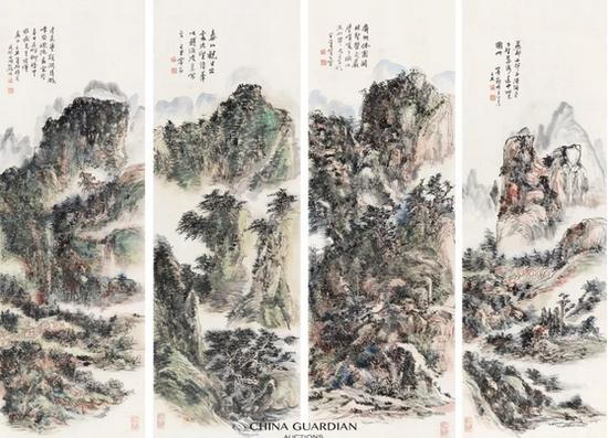 黄宾虹(1865-1955)黄宾虹(1865-1955)  山水四绝  镜心 设色纸本  己丑(1949年)作  143.5×47 cm×4