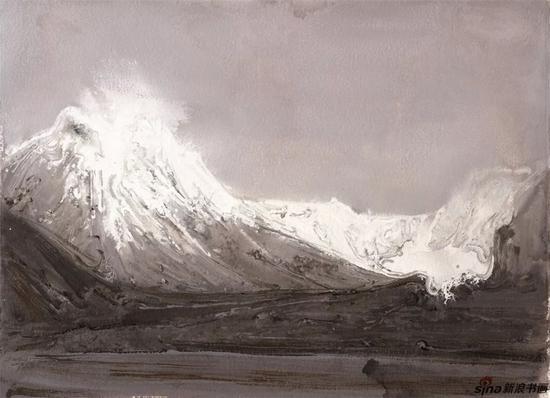 《长云暗雪山之四》纸本色粉56cmx77cm2018年