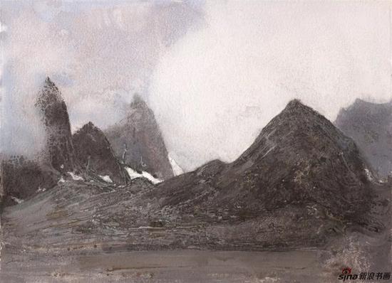 《长云暗雪山之二》纸本色粉55cmx75cm2018年