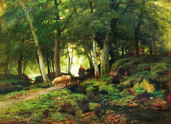 《丛林景色中的牧羊女》费迪南德·德·普林斯 比利利时学院派 (1859-1908) 布面油画 签署F.DE PRINS 61 x 81.3cm