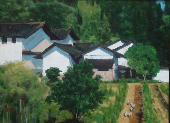 8《绿映山村》杨尧 60cm×80cm 布面油画 2017年