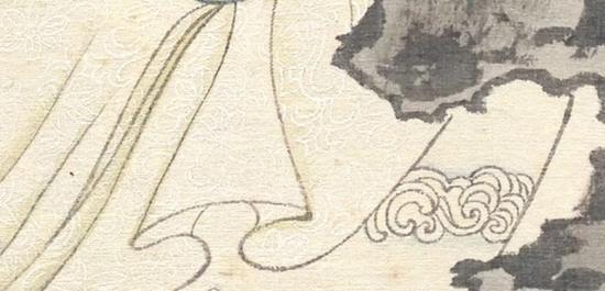 罗裙局部,白色的花纹表现的非常清楚