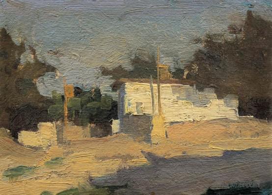 李天祥 《晨光》 13× 16.5cm布面油画 1956年