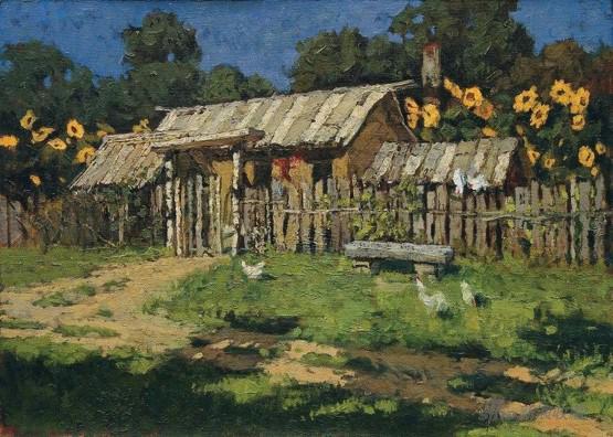 李天祥 《北国农舍 》53.5× 38.5 cm布面油画 1980年