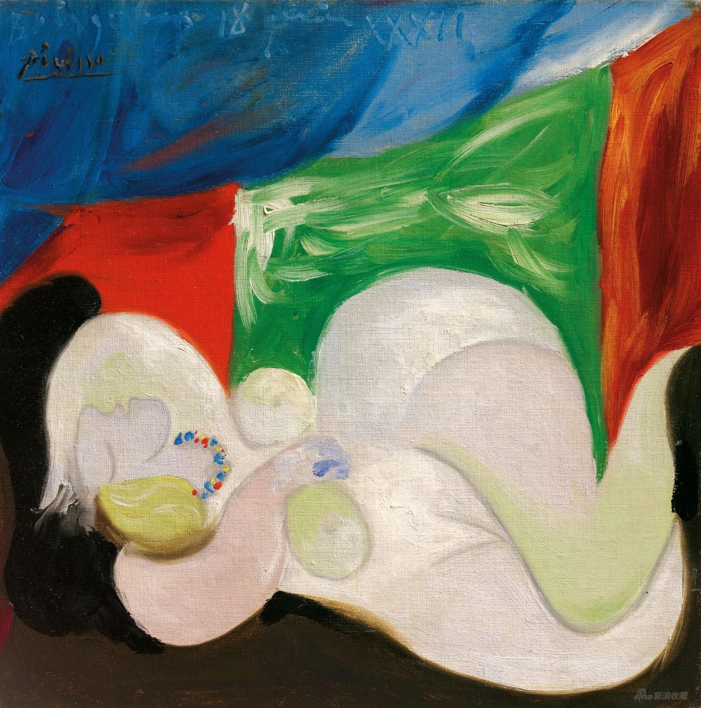 《戴项链的躺卧裸女》(Femme nue couchée au collier),巴勃罗·毕加索,1932