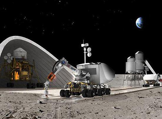 ▲ 火星上运用3D打印自动技术施工