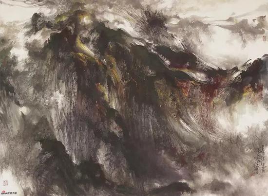 千峰醉红云,170x123.5cm,纸本