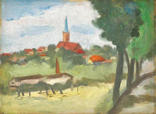 Lot.732 关良(1900-1986) 春(卑尔根风景)
