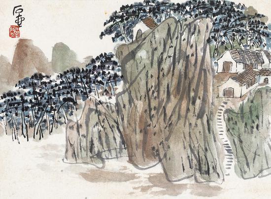 Lot 712 陈子庄(1913-1976) 山居图 纸本镜心 题识:石壶。 钤印:小字阿九 22×29 cm?约0.6平尺 RMB:20,000-30,000