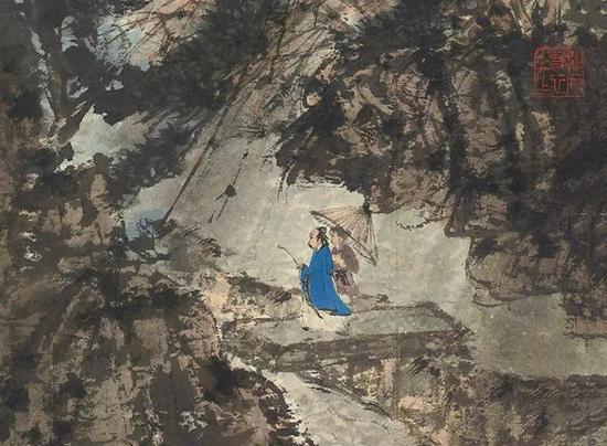 拍品《巴山烟雨》中的点景人物,周遭环境的色彩处理的非常丰富