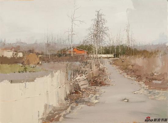 《村头小景之二》纸面水粉53x73cm2015年