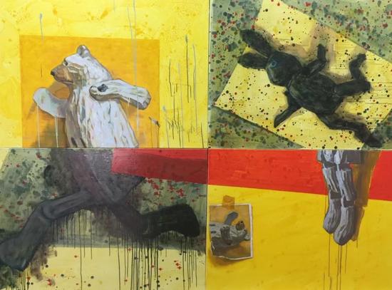 游戏——黑兔与白熊 120x90cmx4 布面油画 2015年