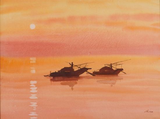 34。魏正起 《渔舟唱晚》57cm×88cm,1988年 湖北美术馆藏