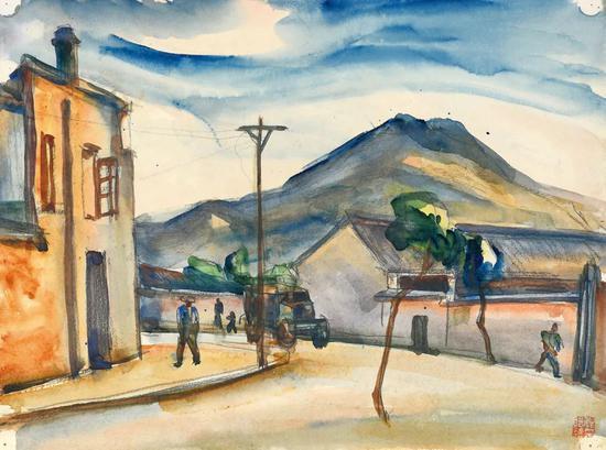Lot.736 倪贻德 小城街头之二 1940年代末至1950年代初   纸本水彩 25×33.7cm。   来源:直接征集自画家家属