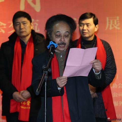 江苏省中国画学会副会长陈国欢宣读中国画学会副会长、江苏省中国画学会会长高云贺信。