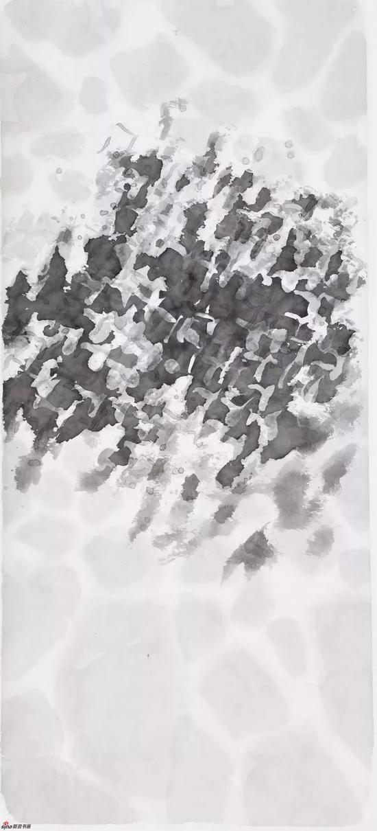 陈九 墨积霜降 纸本水墨 70x156cm 2016