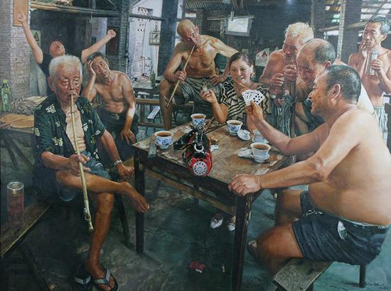 陈安健《茶馆系列-四方桌》 180x136.5cm 2007年 布面油画