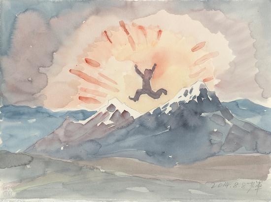 《雪山上的舞蹈》2014年37.7x28.2cm,水彩171-156