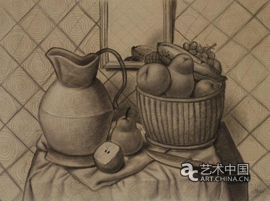 水果静物(2003),布面炭笔画