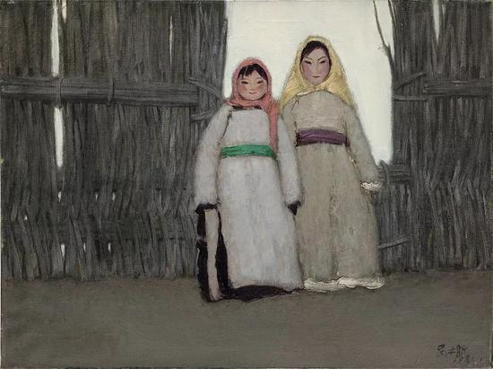 姊妹 布面油画 60x80cm 1981年