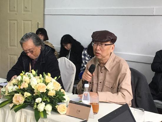 研讨会现场 策展人、著名艺术批评家王林主持