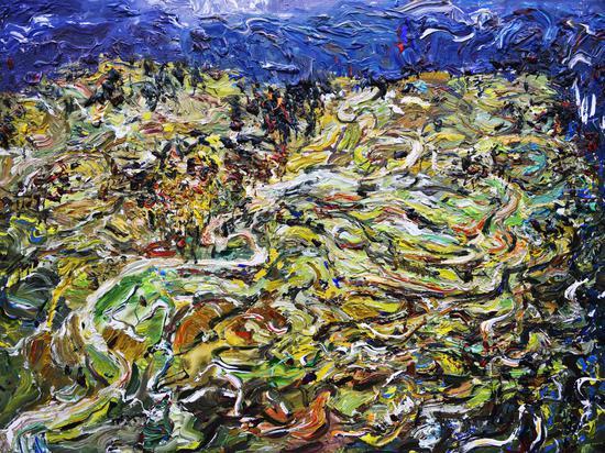 《苗乡梯田的冬季》Winter of the Miao Terranced Fields 2013年12月150cmX200cm 布面丙烯 Acrylic on canvas(参加法国2014年第107届巴黎秋季艺术沙龙展)