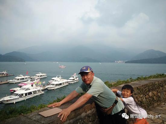 2018年带着儿子在台南日月潭留影