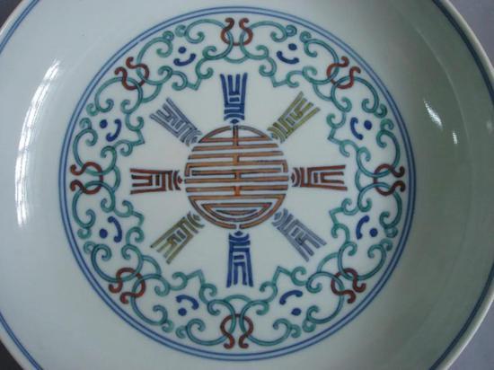 清道光景德镇窑斗彩梵文盘 北京艺术博物馆