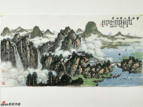 《云涌青山顺帆来》,69cmX136cm,2016年,黄廷海作