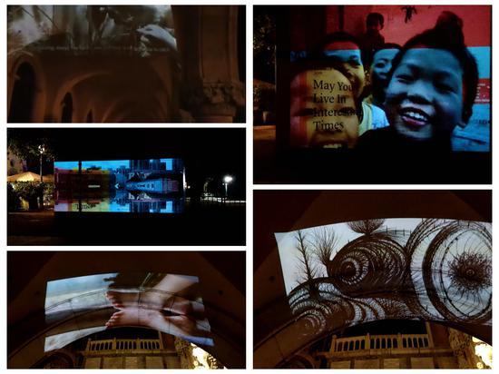Video作品 (左:罗承志《红蜻蜓》、马峻《景行》、张乾乾《脚丫舞》;右:Andrea Cavazzuti 《传说中的纯真孩童》、刘礼宾《绘画》)