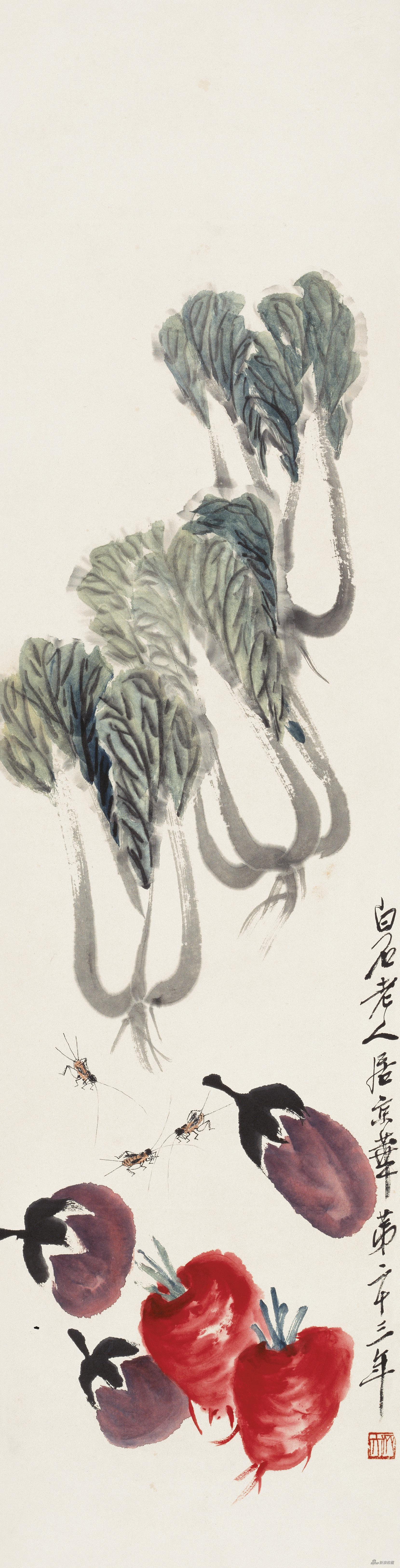 蔬菜蟋蟀 齐白石 133cm×33.5cm 1939年 纸本设色 北京画院藏