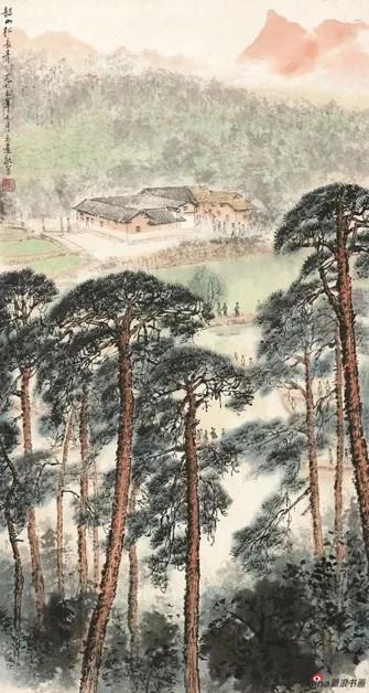 金志远 韶山松长青1976,74×39cm,纸本水墨设色,中国画