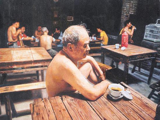 陈安健《茶馆系列-茶馆》35.5x27cm 2012年 布面油画