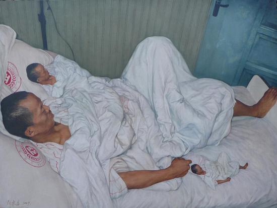 何云昌 自己和自己-油画作品 120x 90cm 2009年