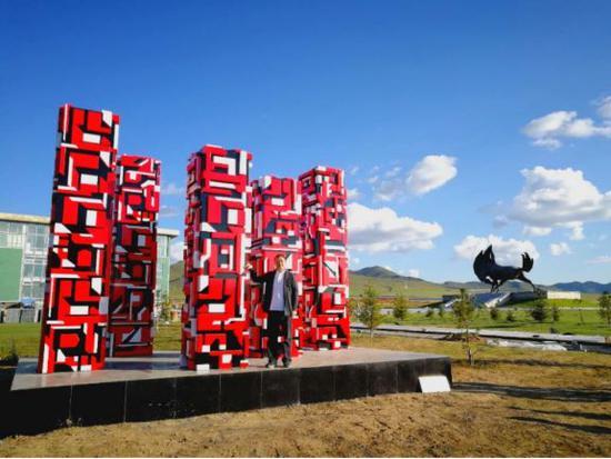 一山作品《文明大同》落座乌兰巴托国际赛马场公园