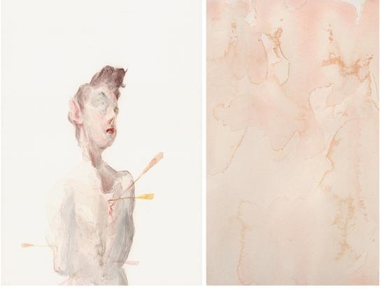 曾朴,《永恒1》,纸本水彩,26×18cm+26×18cm,2018