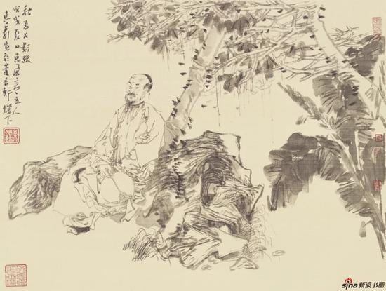徐惠泉 绢本 册页二 34cmX45cm