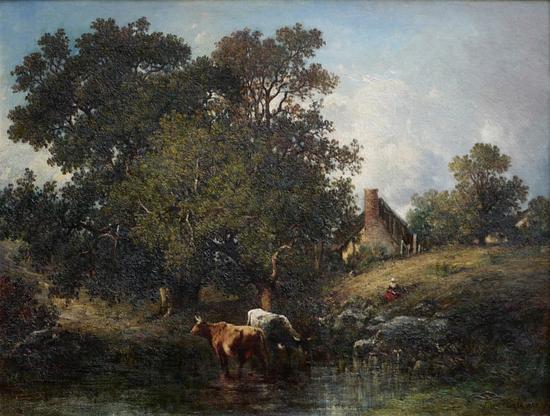 《池塘边的奶牛》杜普雷 ·莱昂 ·维克多 (法国1816-1879年) 布?油画 签名右下:Victor Dupre 1869 55 X 74cm