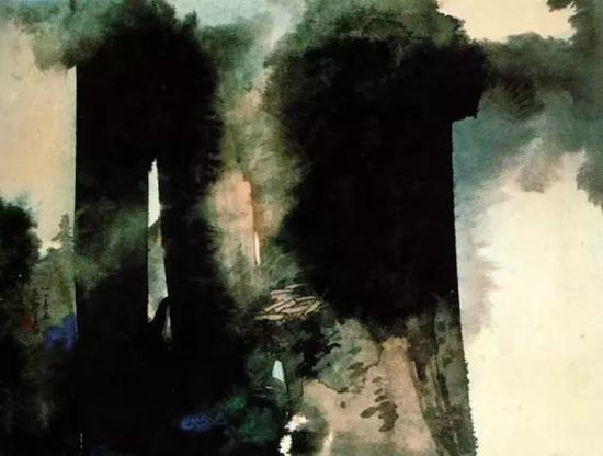 张大千《山居图》1965年