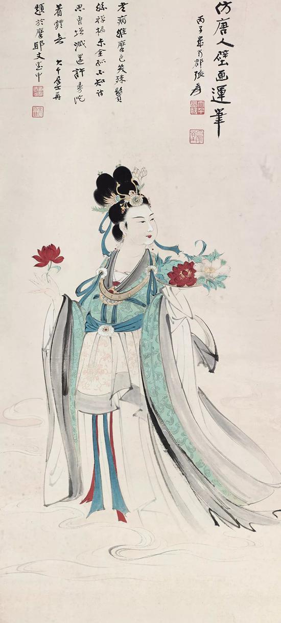 1936年《天女散花图》丙子岁本,台湾鸿禧美术馆旧藏