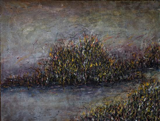 《意象风景-1》油画,纸本综合、油彩,80×100cm,2016年