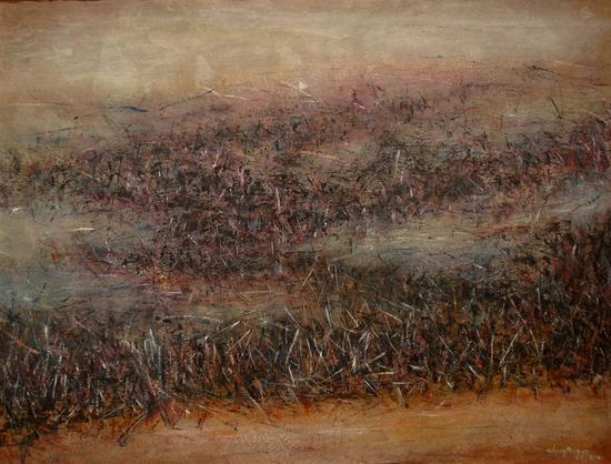 《意象风景-7》油画,纸本综合、油彩,85×108cm,2016年