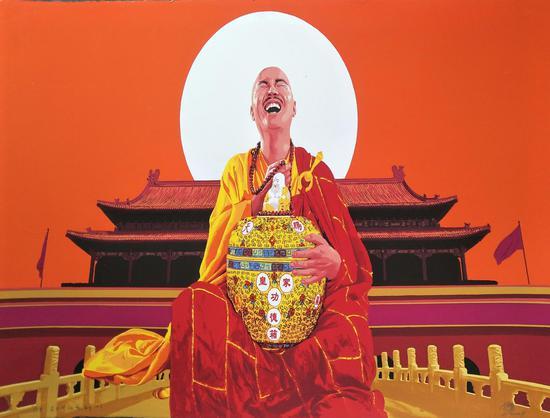 李胡勇 红太阳系列1 丝网版画 57X75CM 2008