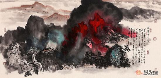张若古·《红云齐天图》 (70*139cm)[作品来源:易从网]