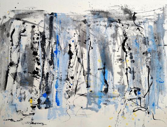 郑连杰作品《蓝色天际》,2018年,水墨丙烯, 144 x 109 cm,?郑连杰工作室