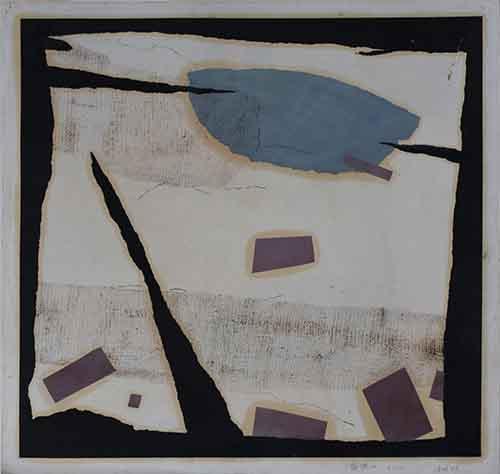 《裂隙No·1》综合材料,纸本,49×49cm,1998~2001年