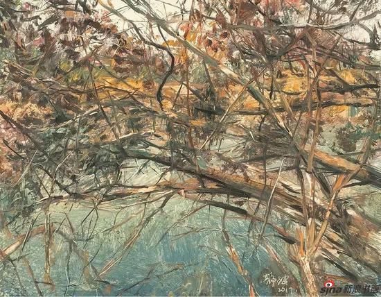 《相拥的树枝之一》42x53cm 油画