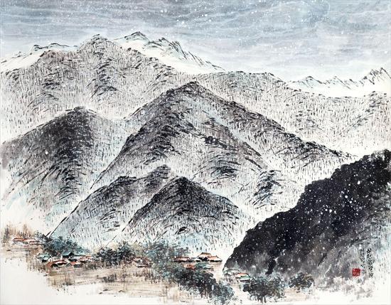 郑井玉(韩)《月岳山意 雪1》