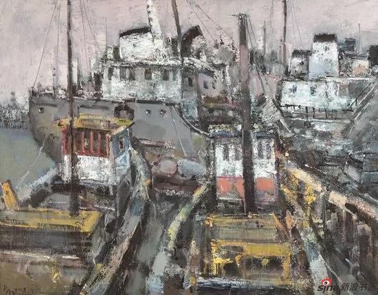 《渔港》70X90cm 油画