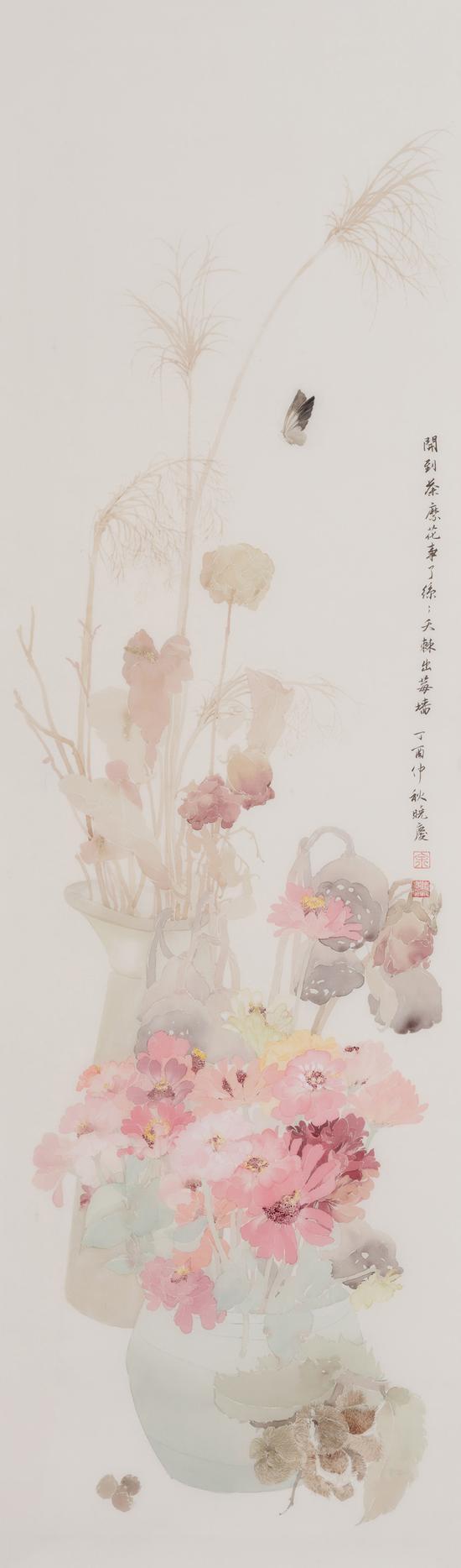 余晓庆,花事阑珊之二,绢本设色,118x36cm,2017